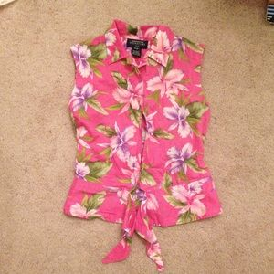 Jones NY pink floral peplum front tie blouse
